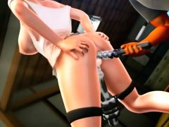 Busty 3D brunette toon screws vibrator deep into her bald snatch