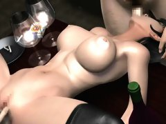 Two busty 3D anime hotties blowing and riding dick in threesome